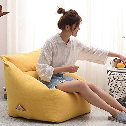 ZZX Sitzsack Außenbezug, Sitzsack-Hülle für Wohnzimmer Outdoorer Sitzsack Bezug ohne Füllung Wechselbezug für birnenförmigen Sitzsack mit Reißverschluss,Gelb
