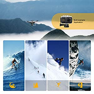 REDU Cámara Deportiva 4K Ultra HD WiFi 20MP, Videocámara de Accion de 30M Sumergible, Mic Externo, Gran Angular de 170 °, Control Remoto 2.4G, EIS,2 baterías Recargables y Kit de Montaje