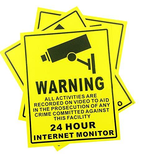 10 Señales De CCTV Autoadhesivas De Advertencia De Lugares Protegidos Bajo 24 Horas De Seguridad Con Monitor De Internet - Circuito Cerrado De TelevisióN, Advertencia De Seguridad - 250 X 200 Mm