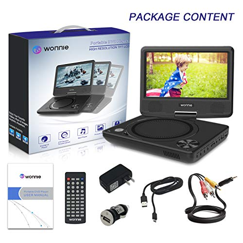WONNIE 11' Kids Portable DVD Player for Car, with 9' Swivel Screen, Rechargeable Battery, Remote Control, USB / SD Card Reader, Region Free (Black)