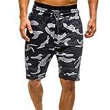 Freeby Men's Summer Sport Shorts Casual Comouflage Cargo Pants Elastic Waist Stretchy Drawstring Beach Shorts (Black, XXL)