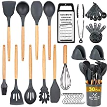 Docgrit Kitchen Utensil Set- 38 PCs Cooking Utensils with Oven Mitts, Grater,Tongs, Spoon Spatula &Turner Made of Heat Resistant Food Grade Silicone and Wooden Handle