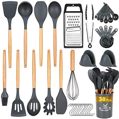 Docgrit Kitchen Utensil Set- 38 PCs Cooking Utensils with Oven Mitts GraterTongs Spoon SpatulaTurner Made of Heat Resistant Food Grade Silicone and Wooden Handle