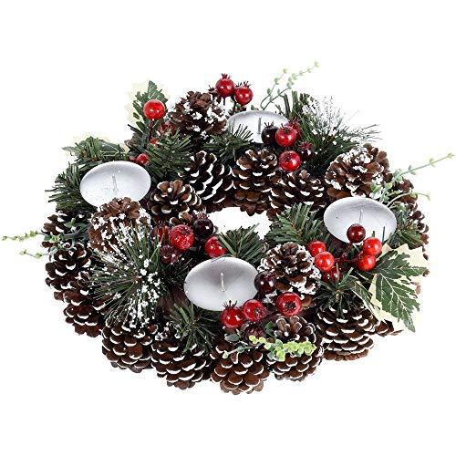 Home @ Styling Collection Corona de Adviento, Corona de Navidad con piñas, decoración de Mesa, Espacio para 4 Velas de té, 30 cm de diámetro