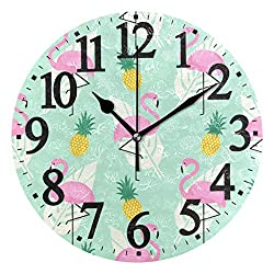WIHVE Round Wall Clock Tropical Flamingo Pineapple and Palm Leaves Home Art Decor Non-Ticking Numeral Clock for Home Office