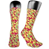 Moruolin Compression High Socks,Tropical Nature Fruits With Orange Watermelon And Strawberries Colorful Vegan Food,Women and Men For Running,Athletic,Hiking,Travel,Flight