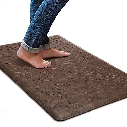 KMAT Kitchen Mat Cushioned Anti-Fatigue Floor Mat Waterproof Non-Slip Standing Mat Ergonomic Comfort Floor Mat Rug for Home,Office,Sink,Laundry,Desk 17.3' (W) x 28'(L),Brown