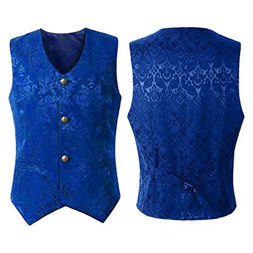 ZHANSANFM Herren Steampunk Gothic Weste Button Down Regular Fit Elegant Jacke Waistcoat Basic Casual Ärmellos Vintage Cosplay Party Kostüm Uniform Mittelalter Kleidung (M, Blau)