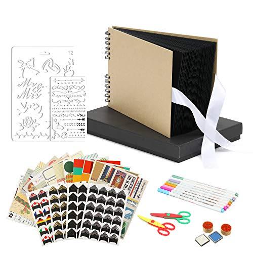 Scrapbook Photo Album DIY Kit, Baby Scrapbook Album,Wedding Guest Book,Anniversary Scrapbook, School Memory Book, Keepsake Handmade,with Many Accessories, Black Paper 80 Pages