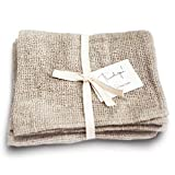 Pre-Washed 100% Linen Tea Towels - Rustic Linen Towels 2-Pack 13'x29'-Inch Checkered Open Weave Kitchen Linens Dish-Cloths or Farmhouse Hand Towel - Quick Drying and Absorbent Linen Kitchen Towels