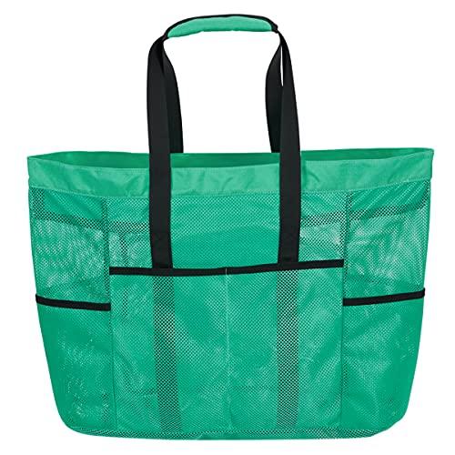 LIVACASA StrandtascheMesh Extra Gross Meshtasche Faltbar mit Reißverschluss Familie Shopper Vielfäche Umhängetasche Netztasche Weiche Tragetasche Picknicktasche (Grün, One Size)