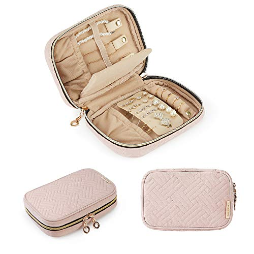 BAGSMART Travel Jewelry Organizer Case Small Jewelry Roll for Journey-Rings, Necklaces, Earrings, Bracelets, Soft Pink