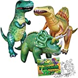 Jet Creations 4-pk Dinosaur Party Bundle Inflatable Triceratops Spinosaurus Trex, 1 Dinosaur Theme Coloring Books. Home School Learn From Home Party Supplies Party Favors Birthday After School Toys for Boys and Girls. JC-D3001