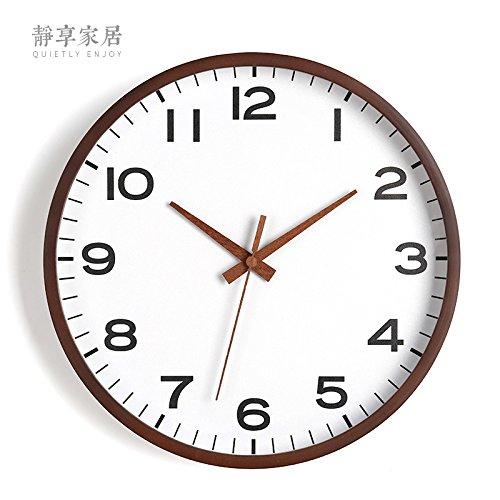 Horloge murale WuuLii décor - horloge murale en bois ronde blanche simple moderne - 12 pouces Horloge murale décorative d'horloge de quartz non-coutil pour le salon, chambre à coucher, espace de bureau, 12 pouces-009