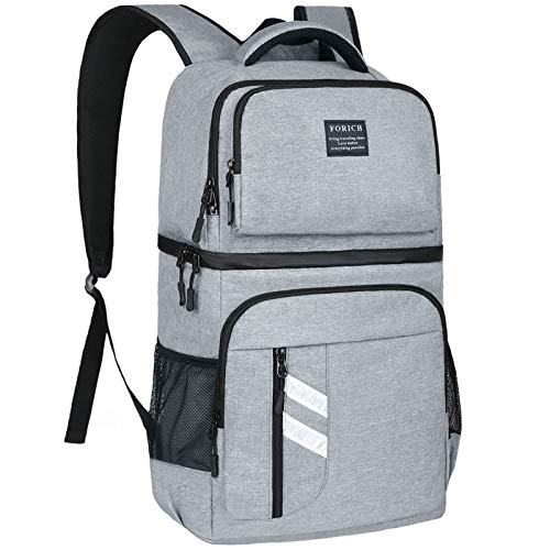 FORICH Cooler Backpack Insulated Soft Backpack Cooler Bag Leak Proof Lightweight Cooler Backpack for Men Women to Lunch Work Beach Picnics Camping Hiking, 30 Cans (Gray)