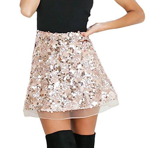 Faldas Mujer Verano Elegantes Vintage Brillo Esencial Lentejuelas Falda Fashion Fiesta Coctel Una Línea Minifalda