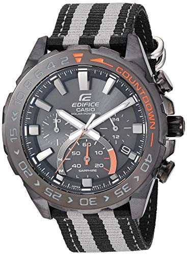 Casio Men's Edifice Stainless Steel Quartz Watch with Cloth Strap, Two Tone, 21.6 (Model: EFS-S550BL-1AVCR)