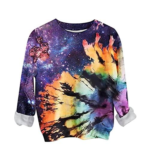 Zldhxyf Sudadera para mujer de otoño, batik, hip hop, jersey de manga larga, cuello redondo, estampado vintage, holgada, básica, para uso diario, informal, de manga larga, azul-1, XXL