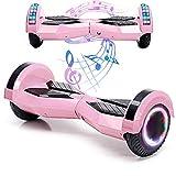 Magic Vida Skateboard Électrique 8 Pouces Bluetooth Puissance 700W avec Deux Barres LED Gyropode Auto-Équilibrage de Bonne qualité pour Enfants et Adult(Rose