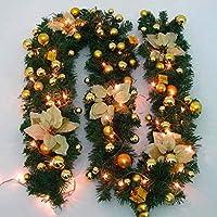 クリスマスフラワーラタンオーナメント、PVCラタンクリスマスデコレーションフラワーラタンランプペンダントデコレーションクリスマスギフト2.7M