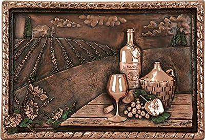 High-End Decor - Vineyard View Kitchen Backsplash Copper Mural - Embossed Metallic Art for Home Decoration (22 x 15 x 2.5 inches) from Torogoz S.A. de C.V.
