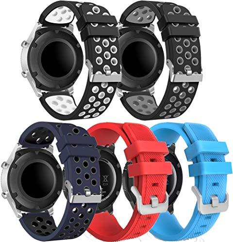 NeatCase Correa de Reloj Recambios Correa Relojes Caucho Compatible con Amazfit Pace/Stratos/GTR 47mm - Silicona Correa Reloj con Hebilla (22mm, 5PCS B)