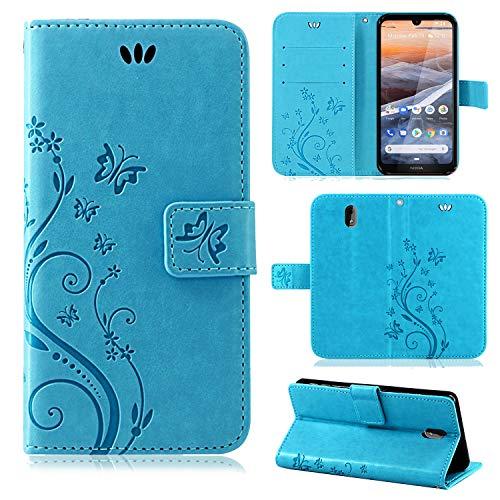 betterfon | Nokia 3.2 Hülle Flower Case Handytasche Schutzhülle Blumen Klapptasche Handyhülle Handy Schale für Nokia 3.2 Blau