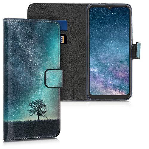 kwmobile Custodia Compatibile con Motorola Moto G9 Play/Moto E7 Plus - Cover Portafoglio Pelle Sintetica con Chiusura Magnetica - Porta Carte Natura e Spazio