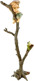 Top Collection Miniature Fairy Garden and Terrarium Sprite Napping with Frog Figurine