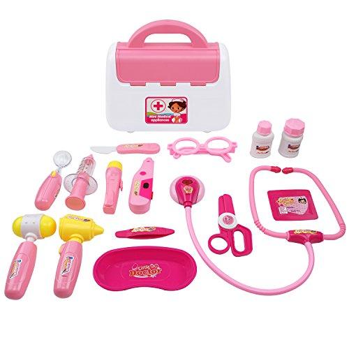 TurnRaise Giocattolo Dottore, 15 Pezzi Kit Valigetta Medico Gioco di Ruolo Set per Bambini 3 Anni (Rosa)