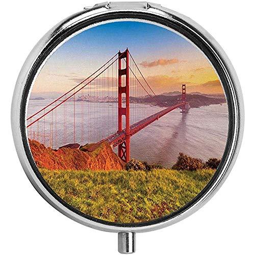Golden Gate Bridge Pill Case Ronde Hoesje voor portemonnee/3-vaks Pill Box/Case