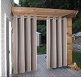Cross Land Outdoor-Sonnenschutz für Terrasse, Strand, Zuhause, thermisch isoliert, Pavillon-Vorhang, gestreift, Vorhänge für Terrassentür (137,2 x 243,8 cm, grau)