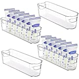 HOOJO Refrigerator Organizer Bins - 4pcs Clear Plastic Bins for...