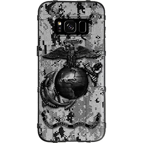 Ego Tactical Limited Edition Design UV-Printed onto a MAG934 Field Case Compatible with Samsung Galaxy S8 (Not for Plus or Active) US Marine Corps Subdued Black Grey Digi Camouflage