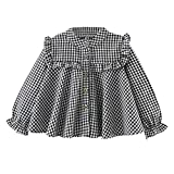 Colorful Childhood Girls Plaid Shirt Casual Long Sleeve Loose Fit Blouse Ruffles Tops Black Size 7-8T