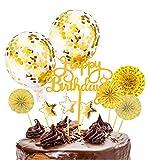 Xinmeng Oro Decoración para Tartas Torta Toppers de Cumpleaños Cumpleaños Cupcake Toppers...