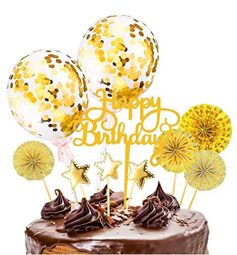 Xinmeng Oro Decoración para Tartas|Torta Toppers de Cumpleaños|Cumpleaños Cupcake Toppers|Abanicos de Papel Globos Confeti Cupcake Topper para Oro Tema Partido Tartas de Decoración.