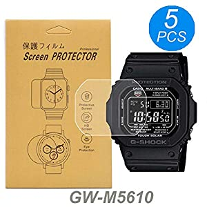[5-Pcs] for Casio GW-M5610 / GWM5610 Watch Screen Protector, Full Coverage Screen Protector Watch HD Clear Anti-Bubble and Anti-Scratch for GW-M5610 /G-5600 /GLS-5600