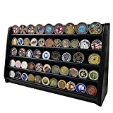 DecoWoodo Military Challenge Coin Holder Wooden Rack Challenge Coin Display Stand 5 Rows Black Finish