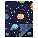Hudson Baby Unisex Baby Plush Blanket with Sherpa Back, Solar System, One Size, 30x40 inch (Baby)