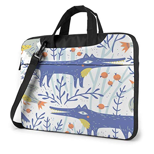 Laptop Messenger Laptop Bag Funny Fox Hunting Camo Blue Shoulder Bag Briefcase Office Laptop Sleeve Case Satchel Tablet for Men Women