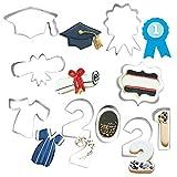 Set di 9 formine per biscotti di laurea, diploma, medaglione, abito di laurea, cornice per biscotti, sandwich fondente, formine per biscotti e biscotti, confezione da 2021