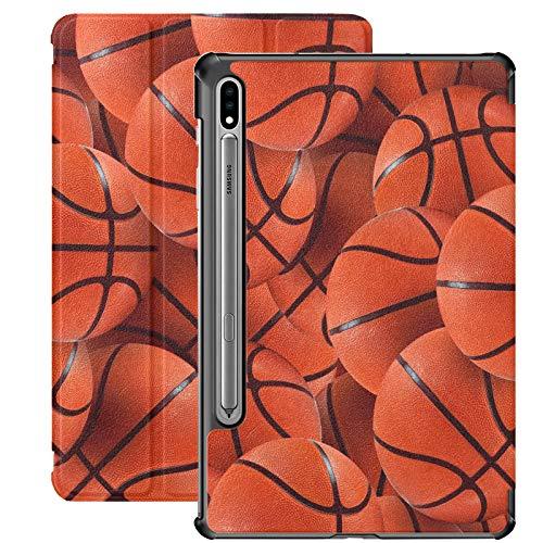 Baloncesto Balls Funda Samsung S7 para Samsung Galaxy Tab S7 / s7 Plus Funda para Tableta Soporte Funda Trasera Galaxy S7 para Galaxy Tab S7 11 Pulgadas S7 Plus 12,4 Pulgadas