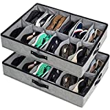 storageLAB Under Bed Shoe Storage, Under Bed Shoe Organizer with Sturdy Sides and Clear Top Cover - Set of 2, Fits Up to 24 Pairs Total - Underbed Storage Solution
