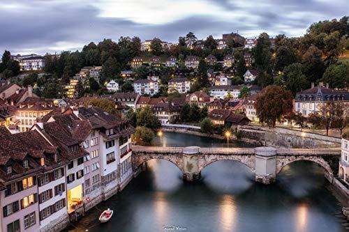 Genfer Burgstadt Lausanne Bern Diy 5D Diamant Gemälde nach Nummer Dekor Strass Stickerei Bilder Handwerk Leinwand Wanddekoration Kreuzstich