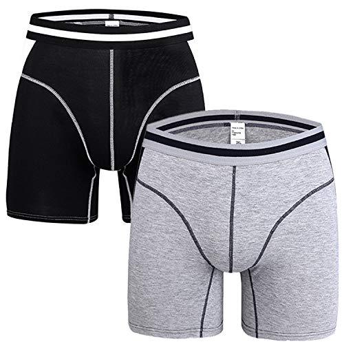 Willlly 2 Pack mannen Basic Boxer Briefs Casual Chic Boxer Shorts Lange Been Katoen Onderbroek Trunk Onder Warm Shaer Locker Zachte Comfort Onderbroek Geen Fly Retropants Retro Shorts