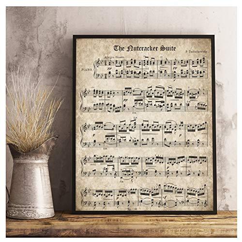 GIRDSS Nussknacker Retro Noten Poster und Druck Tschaikowsky Klassische Klaviermusik Leinwand Malerei Wandbild-50X70cm Rahmenlos