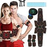 Breett Estimulador Abdominal, ABS Electroestimulador Muscular Recargable, Estimulador Muscular Abdominales Cinturón para Bdomen/Brazo/Piernas/Glúteos,Almohadillas de Gel 16pcs