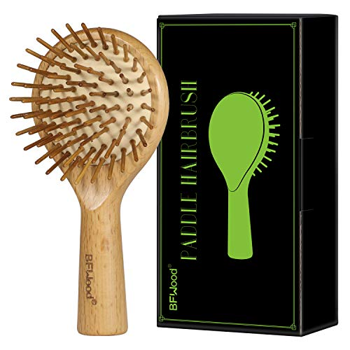 BFWood Cepillo de Madera Portátil con Cerdas de Bambú Cepillo de Pelo Desenredado para Mujeres y Niños
