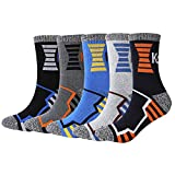 KONY Men's Trekking Hiking Socks, Cotton Moisture Wicking Thick Cushioned Outdoor Crew Socks, Mid Calf, All Season Gift (Mix-3, Medium(Shoe Size 8-12))